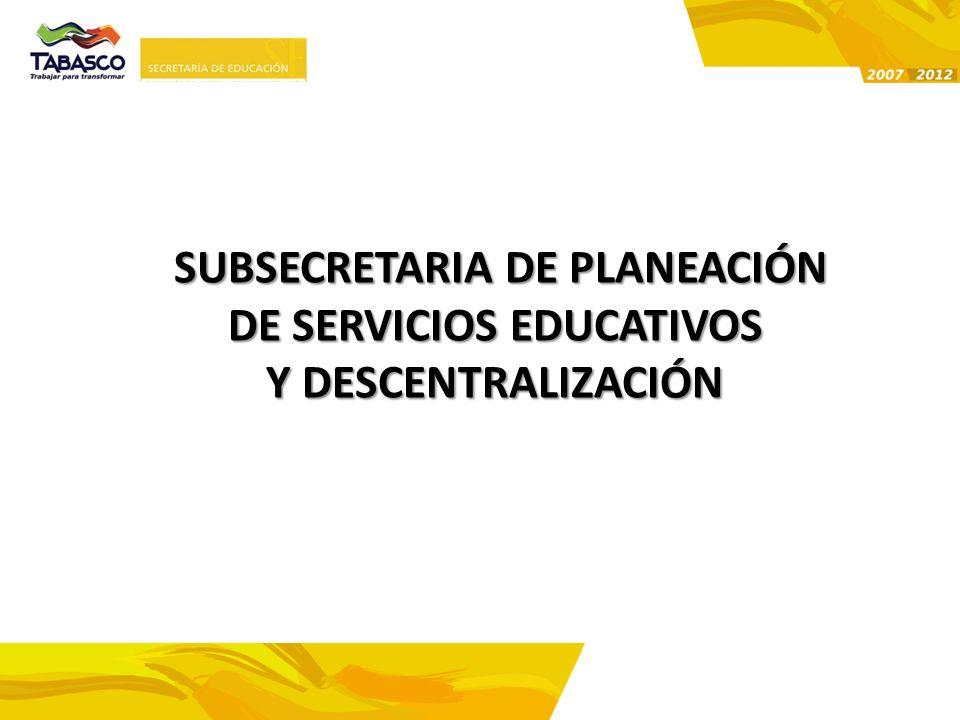 SUBSECRETARIA DE PLANEACIÓN DE SERVICIOS EDUCATIVOS