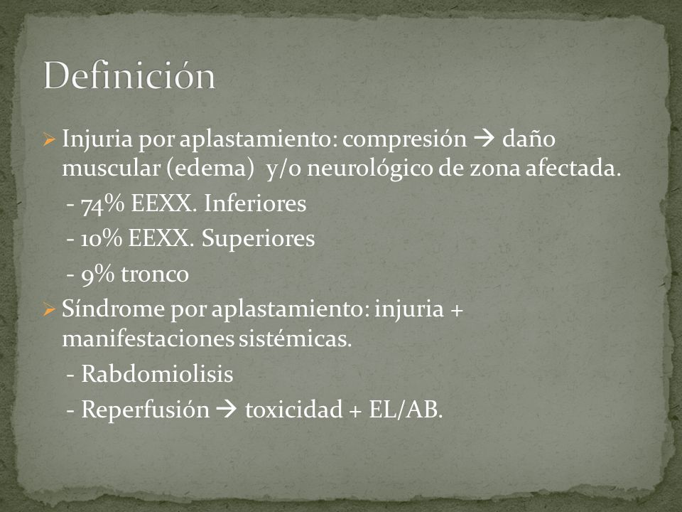 Definición Injuria por aplastamiento: compresión  daño muscular (edema) y/o neurológico de zona afectada.