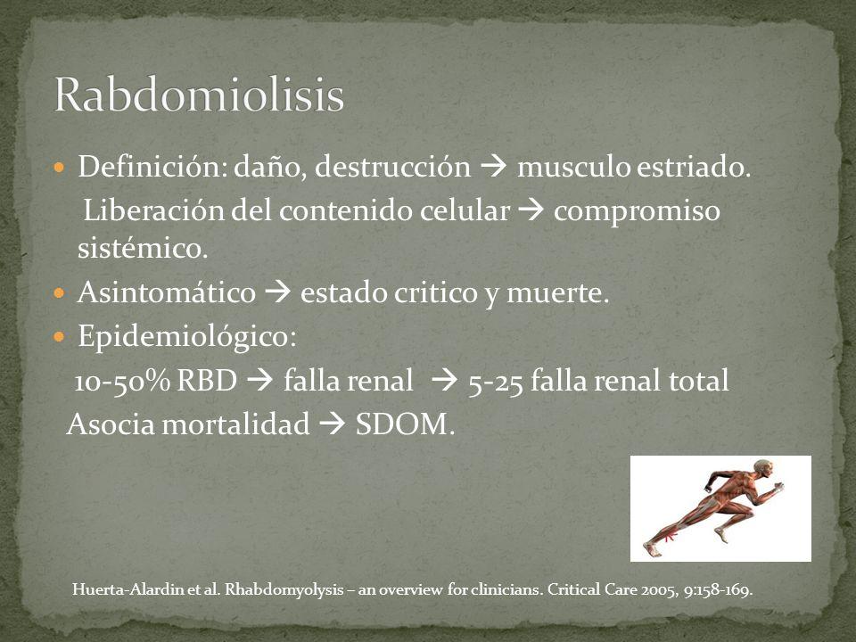 Rabdomiolisis Definición: daño, destrucción  musculo estriado.