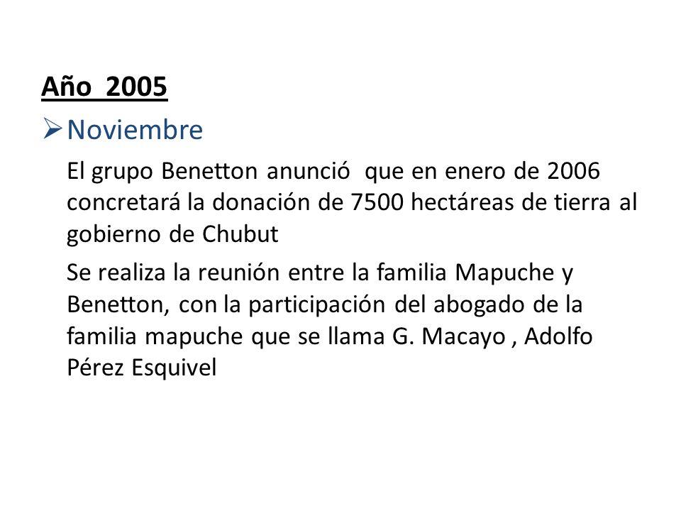 Año 2005Noviembre. El grupo Benetton anunció que en enero de 2006 concretará la donación de 7500 hectáreas de tierra al gobierno de Chubut.