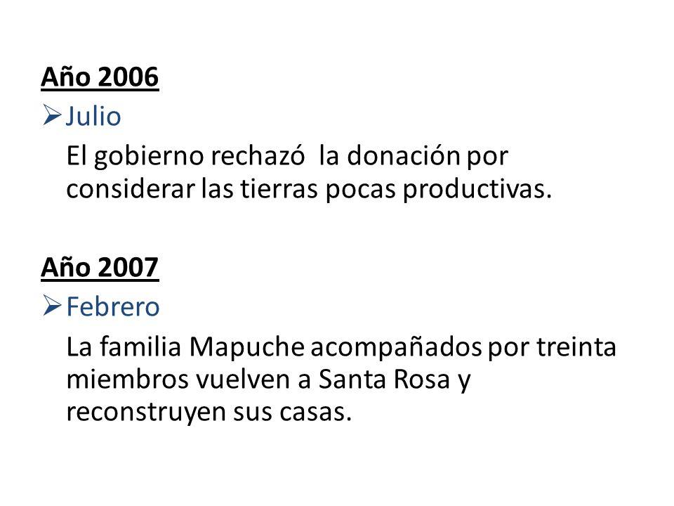 Año 2006Julio. El gobierno rechazó la donación por considerar las tierras pocas productivas. Año 2007.