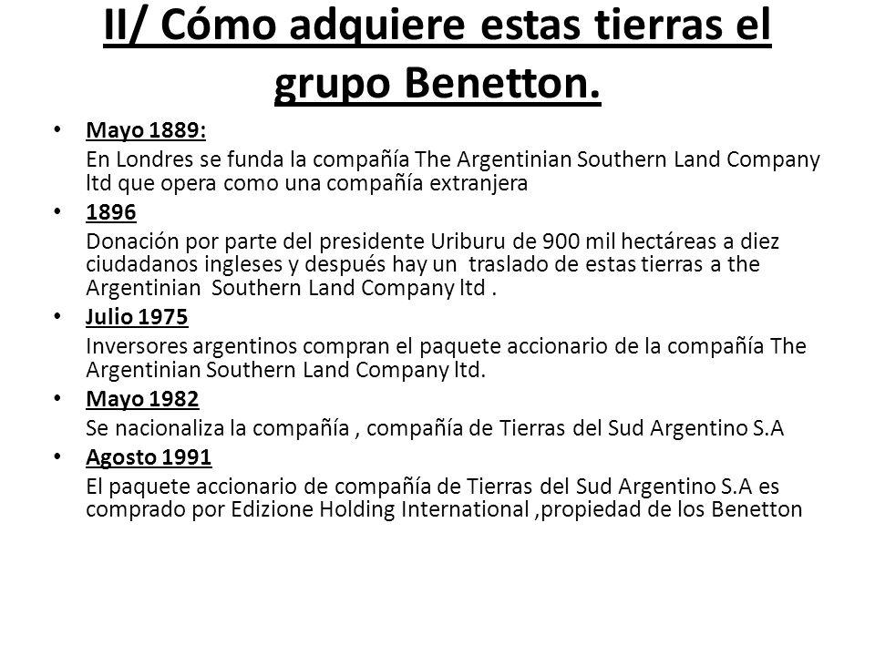 II/ Cómo adquiere estas tierras el grupo Benetton.
