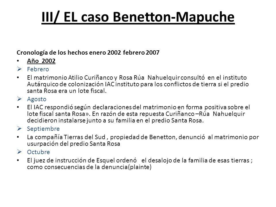 III/ EL caso Benetton-Mapuche