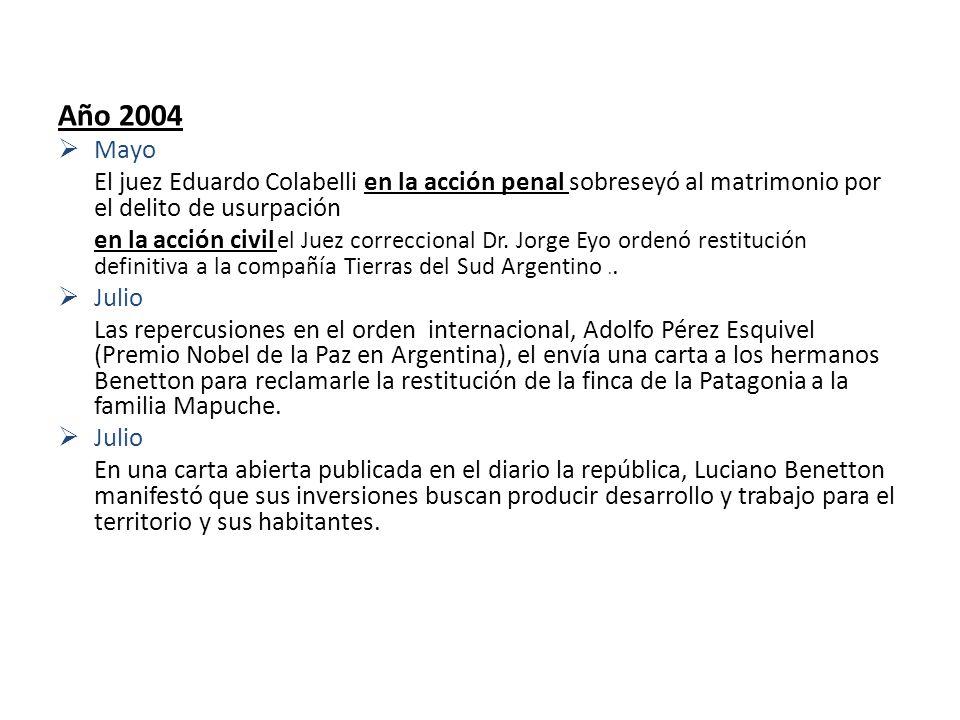 Año 2004 Mayo. El juez Eduardo Colabelli en la acción penal sobreseyó al matrimonio por el delito de usurpación.