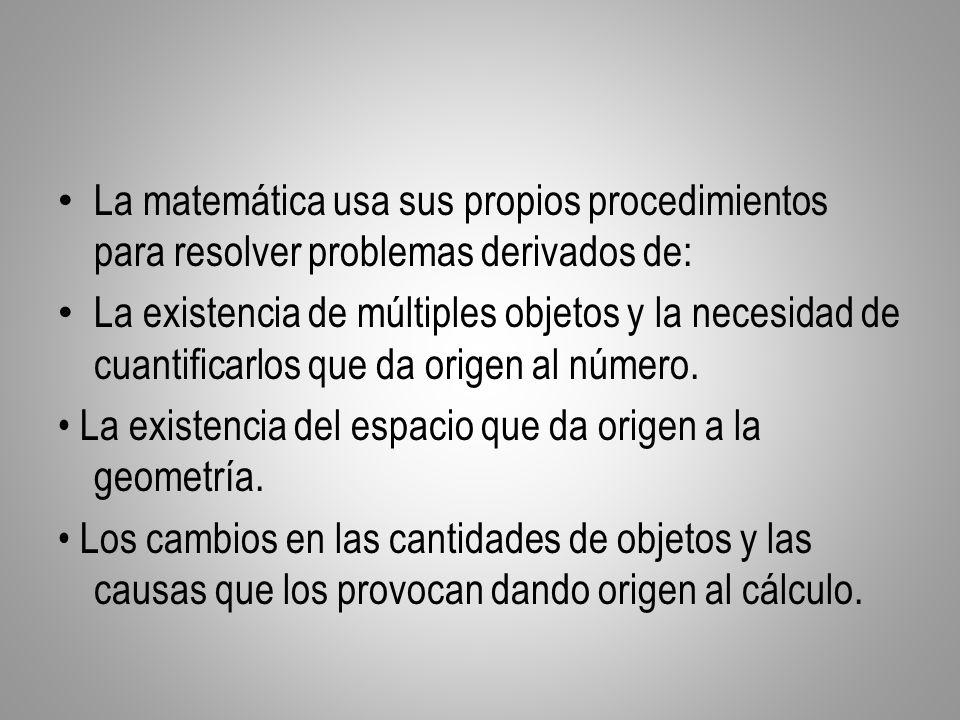 La matemática usa sus propios procedimientos para resolver problemas derivados de: