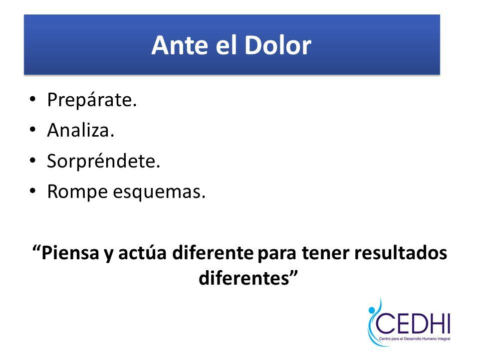 Piensa y actúa diferente para tener resultados diferentes