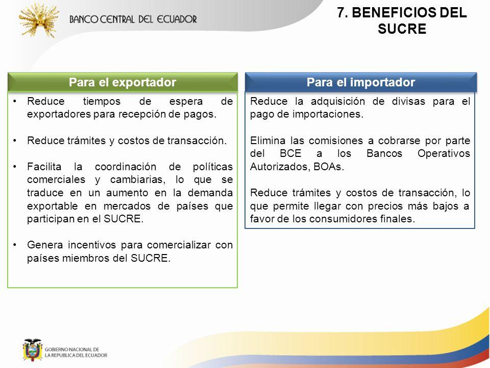 7. BENEFICIOS DEL SUCRE Para el exportador Para el importador