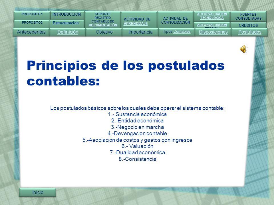 Principios de los postulados contables: