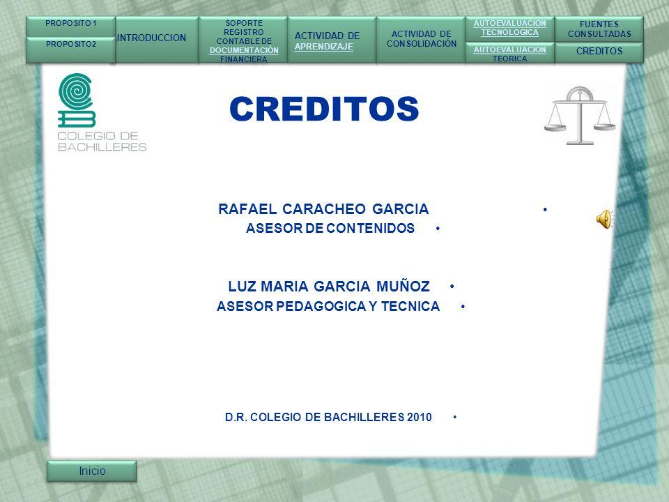 CREDITOS LUZ MARIA GARCIA MUÑOZ RAFAEL CARACHEO GARCIA