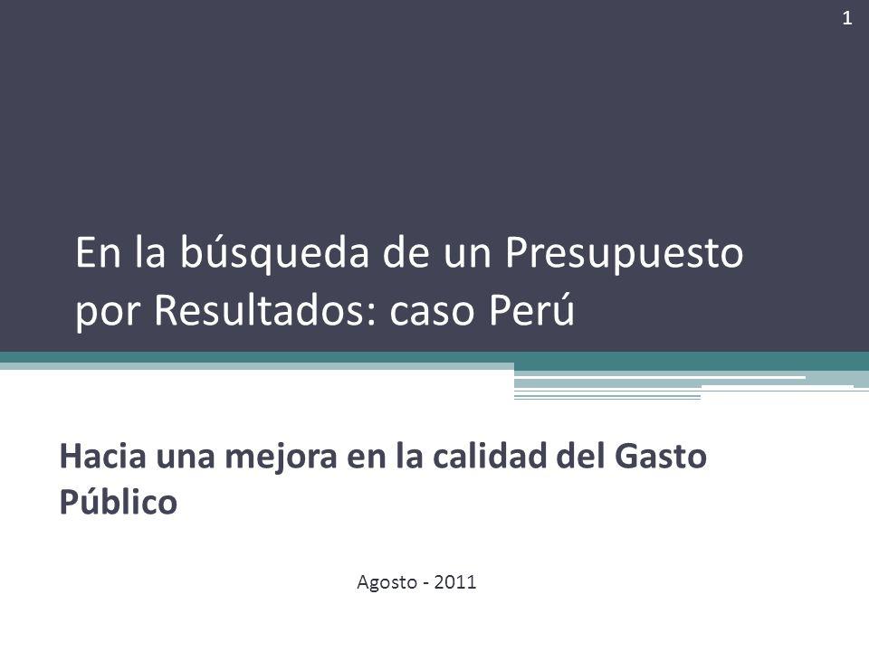 En la búsqueda de un Presupuesto por Resultados: caso Perú