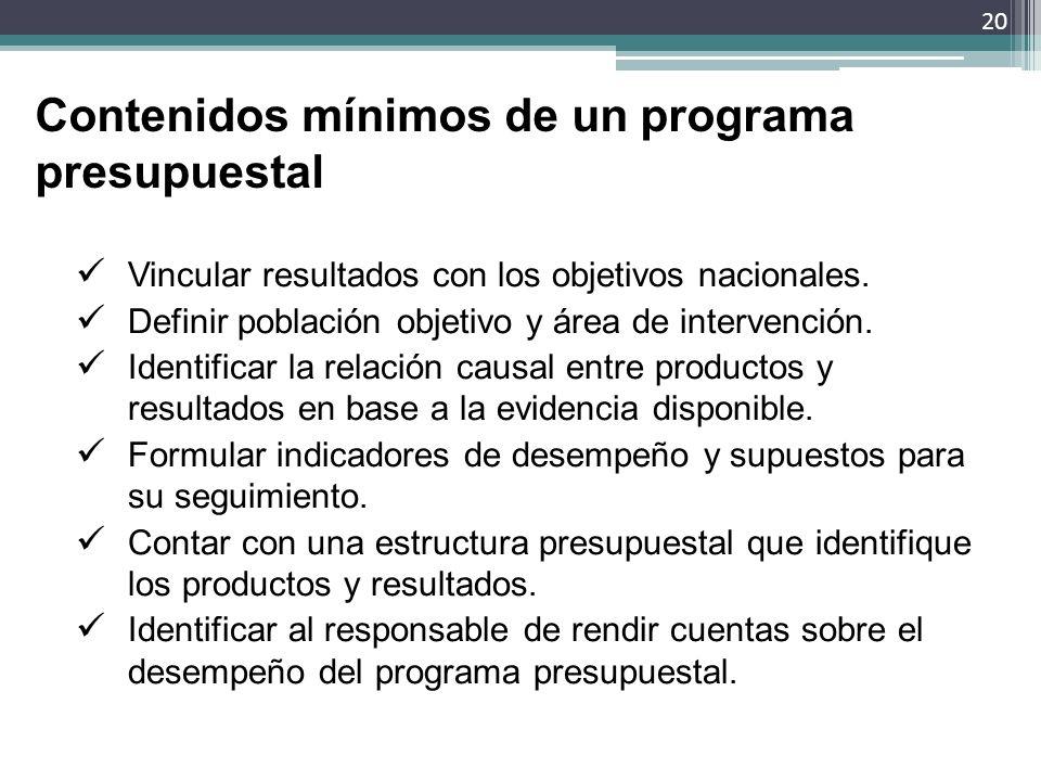 Contenidos mínimos de un programa presupuestal