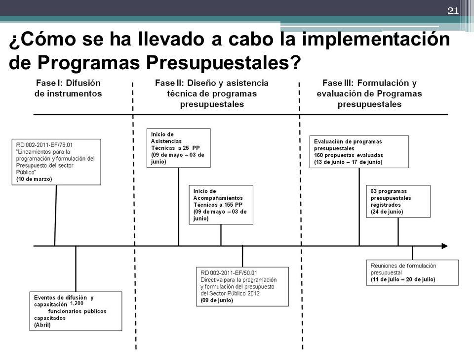¿Cómo se ha llevado a cabo la implementación de Programas Presupuestales