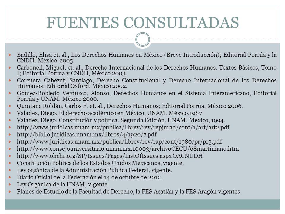 FUENTES CONSULTADAS Badillo, Elisa et. al., Los Derechos Humanos en México (Breve Introducción); Editorial Porrúa y la CNDH. México 2005.