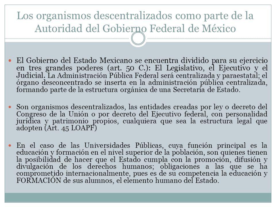 Los organismos descentralizados como parte de la Autoridad del Gobierno Federal de México