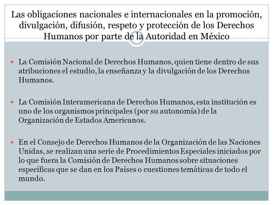 Las obligaciones nacionales e internacionales en la promoción, divulgación, difusión, respeto y protección de los Derechos Humanos por parte de la Autoridad en México