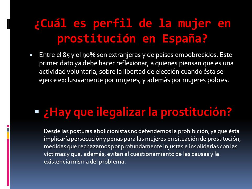 ¿Cuál es perfil de la mujer en prostitución en España
