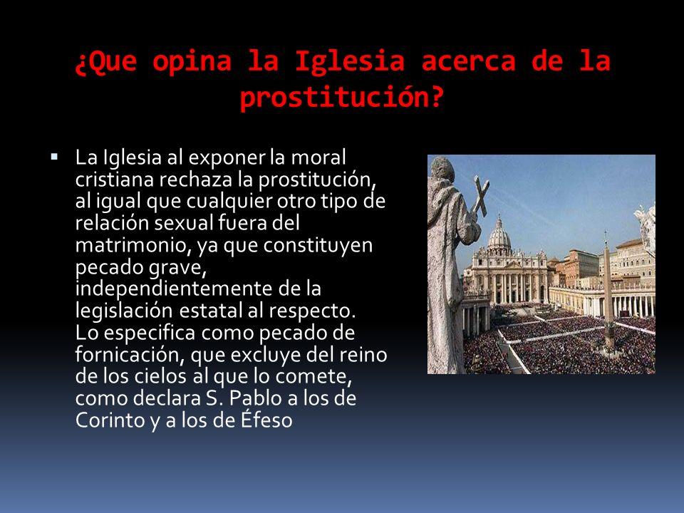 ¿Que opina la Iglesia acerca de la prostitución