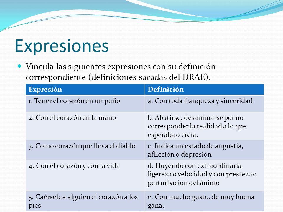 Expresiones Vincula las siguientes expresiones con su definición correspondiente (definiciones sacadas del DRAE).