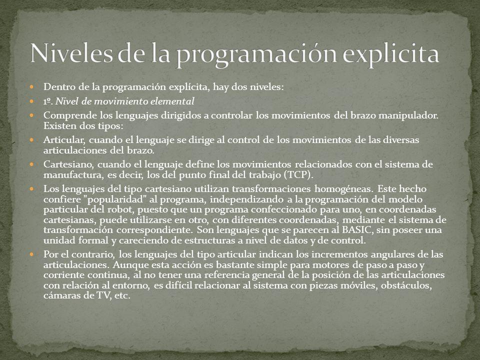 Niveles de la programación explicita