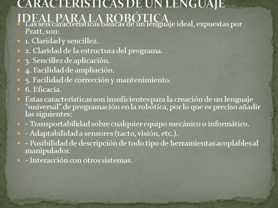 CARACTERÍSTICAS DE UN LENGUAJE IDEAL PARA LA ROBÓTICA