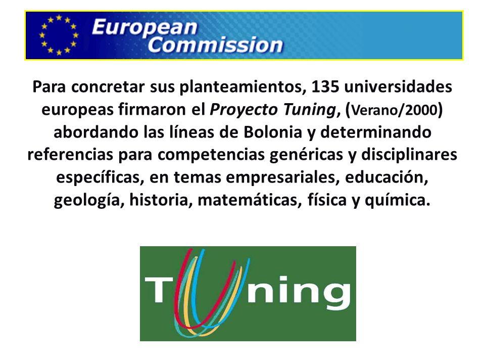Para concretar sus planteamientos, 135 universidades europeas firmaron el Proyecto Tuning, (Verano/2000) abordando las líneas de Bolonia y determinando referencias para competencias genéricas y disciplinares específicas, en temas empresariales, educación, geología, historia, matemáticas, física y química.