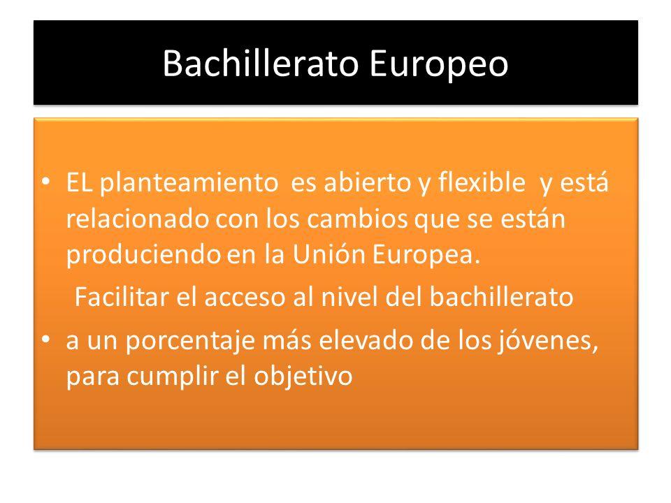 Bachillerato EuropeoEL planteamiento es abierto y flexible y está relacionado con los cambios que se están produciendo en la Unión Europea.