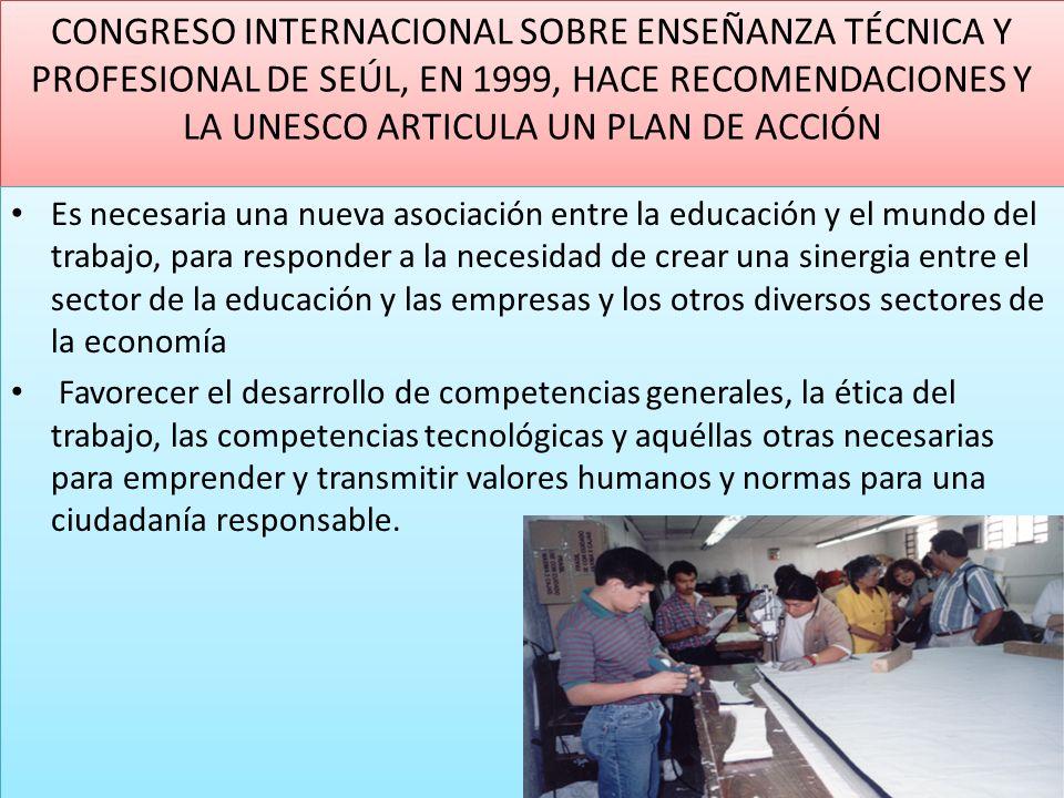 CONGRESO INTERNACIONAL SOBRE ENSEÑANZA TÉCNICA Y PROFESIONAL DE SEÚL, EN 1999, HACE RECOMENDACIONES Y LA UNESCO ARTICULA UN PLAN DE ACCIÓN
