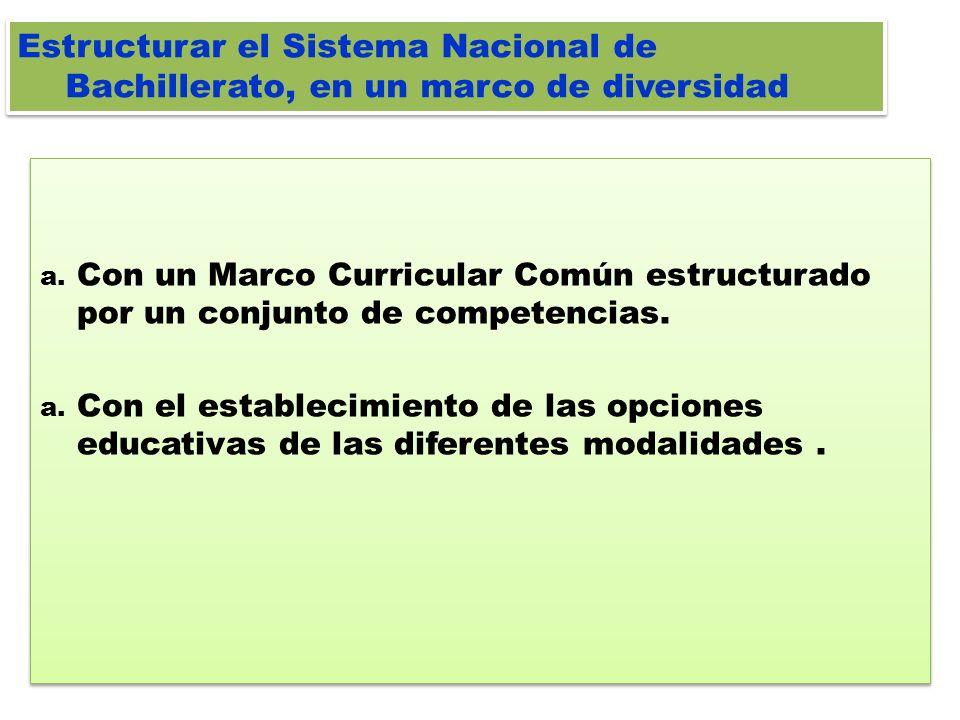 Estructurar el Sistema Nacional de Bachillerato, en un marco de diversidad
