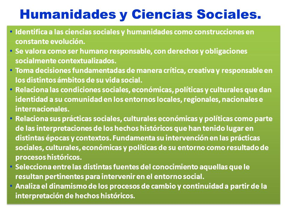 Humanidades y Ciencias Sociales.