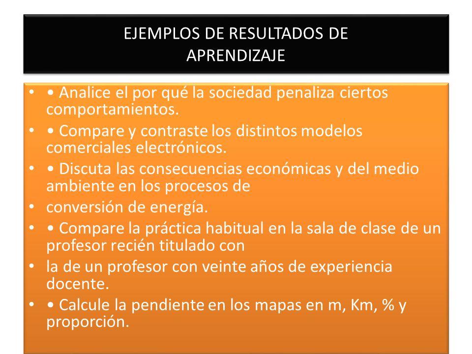 EJEMPLOS DE RESULTADOS DE APRENDIZAJE