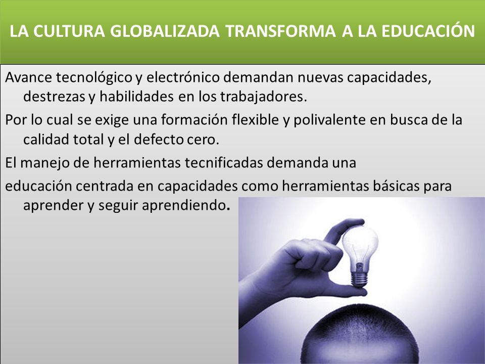 LA CULTURA GLOBALIZADA TRANSFORMA A LA EDUCACIÓN