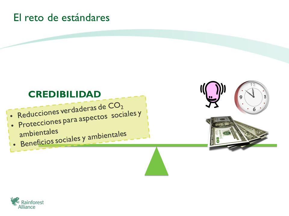 El reto de estándares CREDIBILIDAD Reducciones verdaderas de CO2