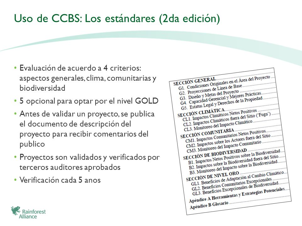 Uso de CCBS: Los estándares (2da edición)