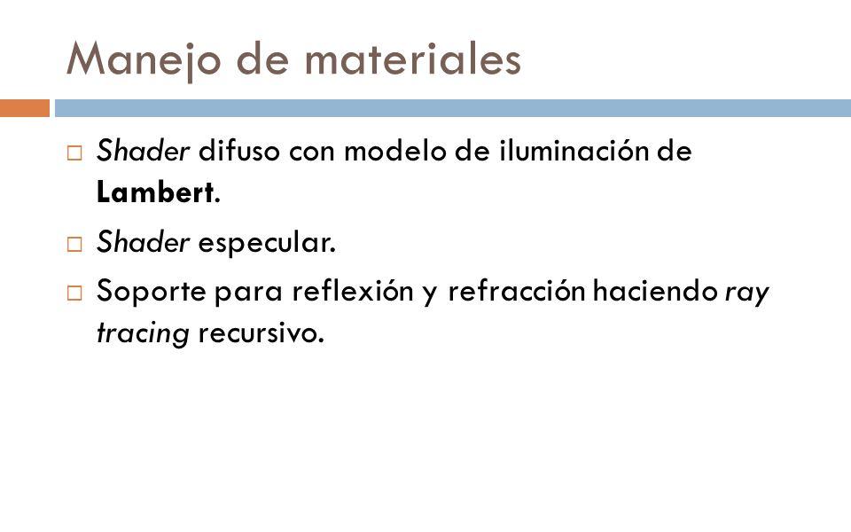 Manejo de materiales Shader difuso con modelo de iluminación de Lambert. Shader especular.