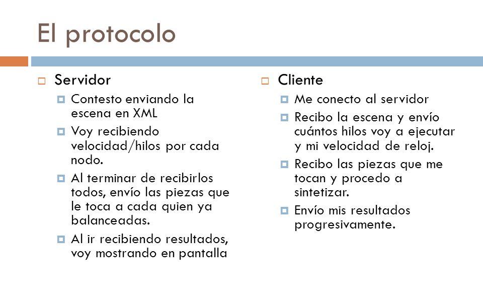El protocolo Servidor Cliente Contesto enviando la escena en XML