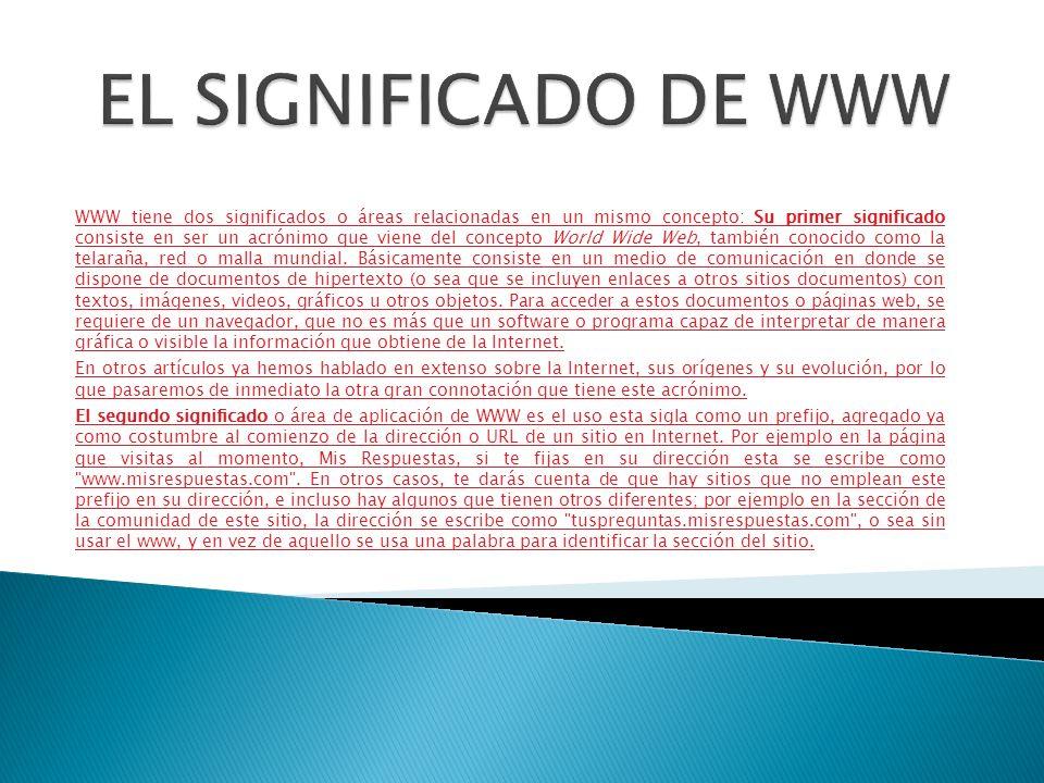 EL SIGNIFICADO DE WWW
