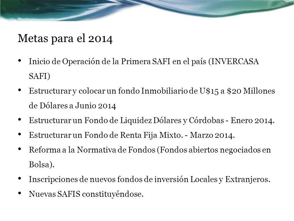 Metas para el 2014 Inicio de Operación de la Primera SAFI en el país (INVERCASA SAFI)