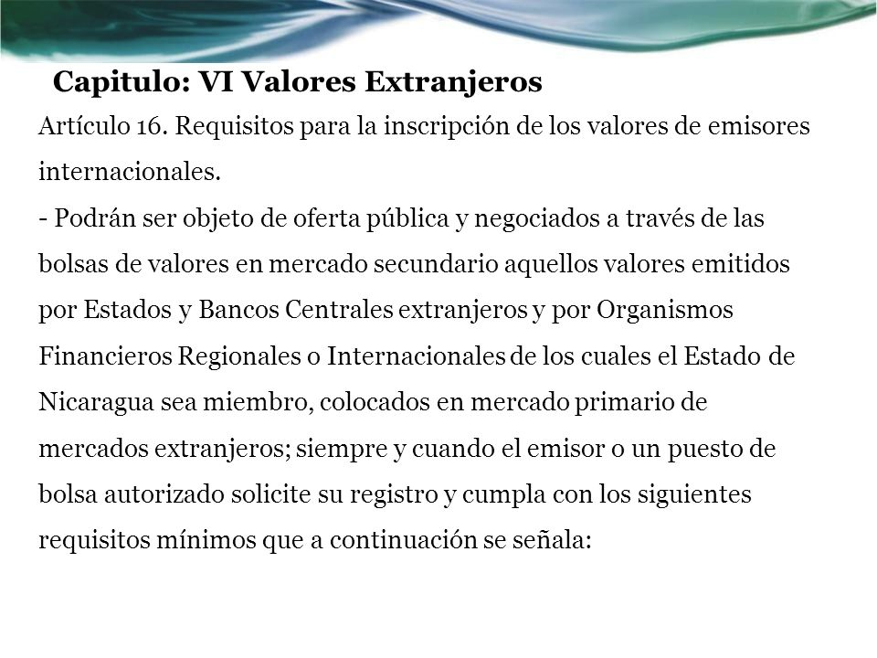 Capitulo: VI Valores Extranjeros