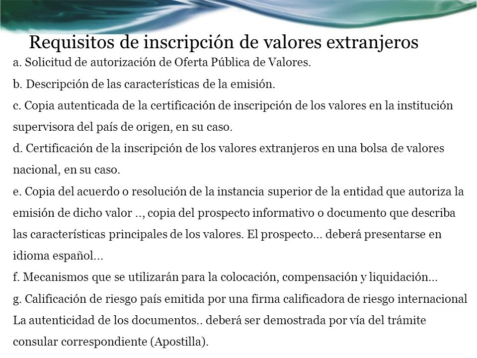 Requisitos de inscripción de valores extranjeros