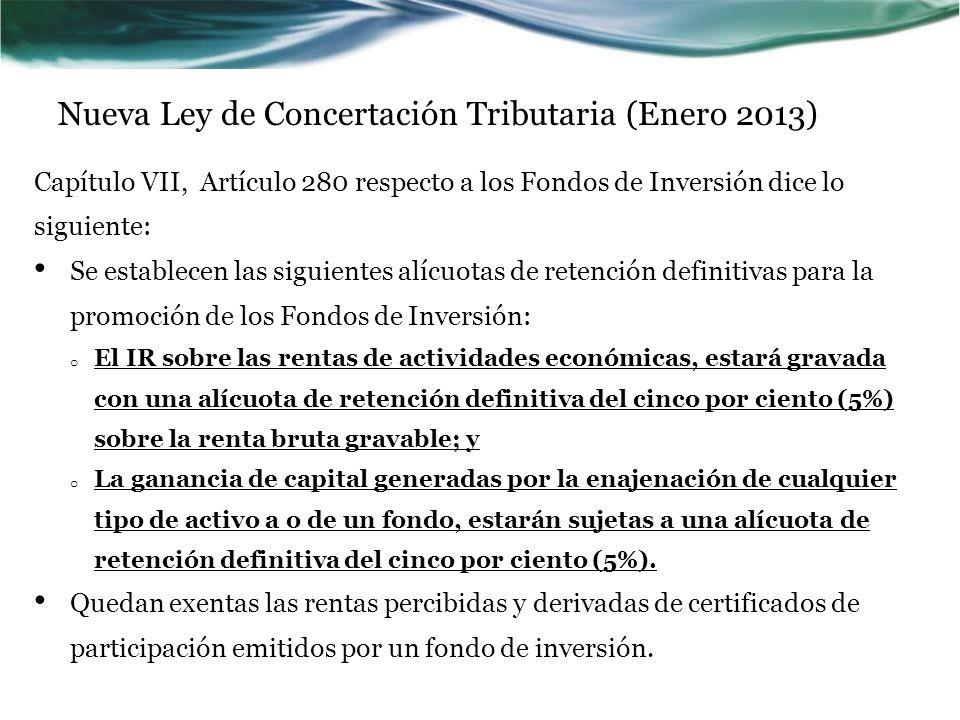 Nueva Ley de Concertación Tributaria (Enero 2013)