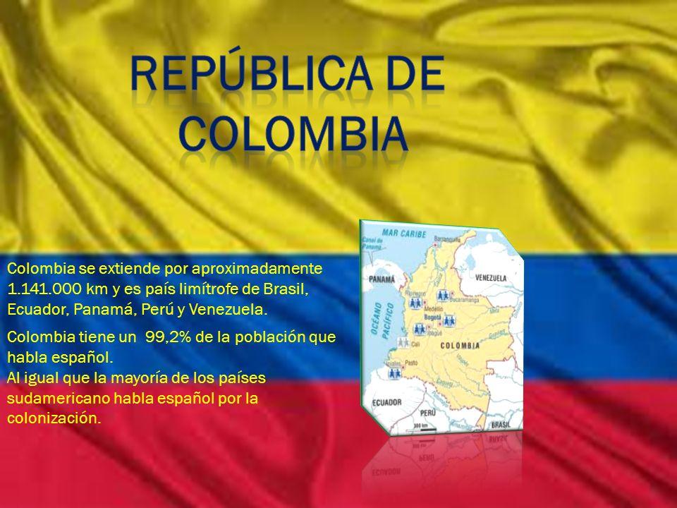República de Colombia. Colombia se extiende por aproximadamente 1.141.000 km y es país limítrofe de Brasil, Ecuador, Panamá, Perú y Venezuela.
