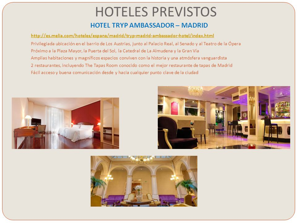 HOTELES PREVISTOS HOTEL TRYP AMBASSADOR – MADRID