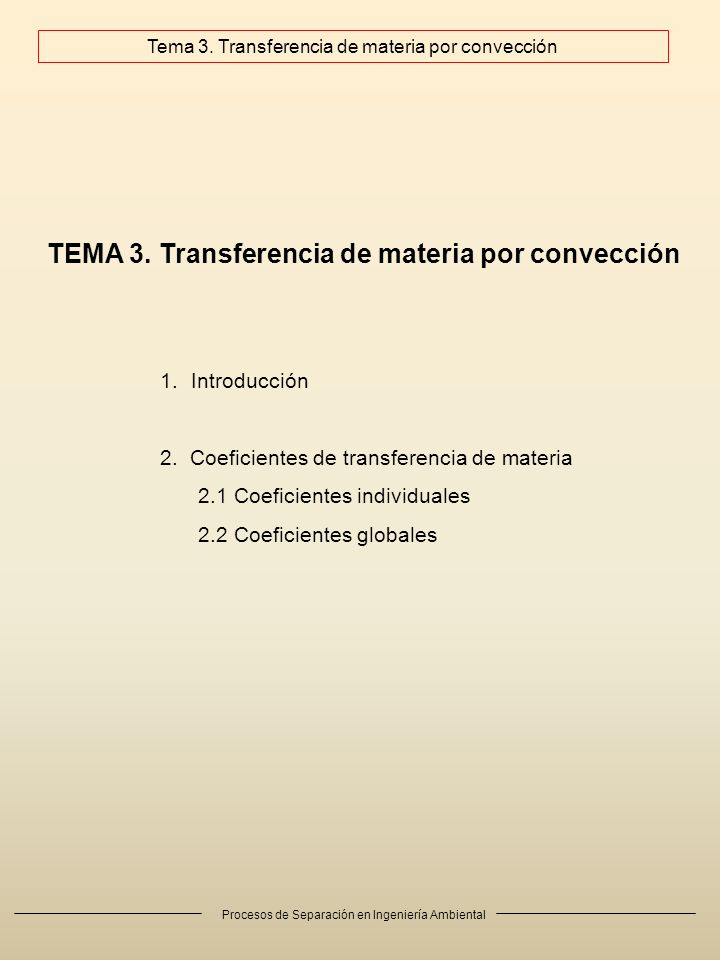 Tema 3. Transferencia de materia por convección