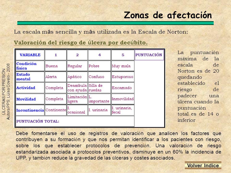 Zonas de afectación La escala más sencilla y más utilizada es la Escala de Norton: Valoración del riesgo de úlcera por decúbito.