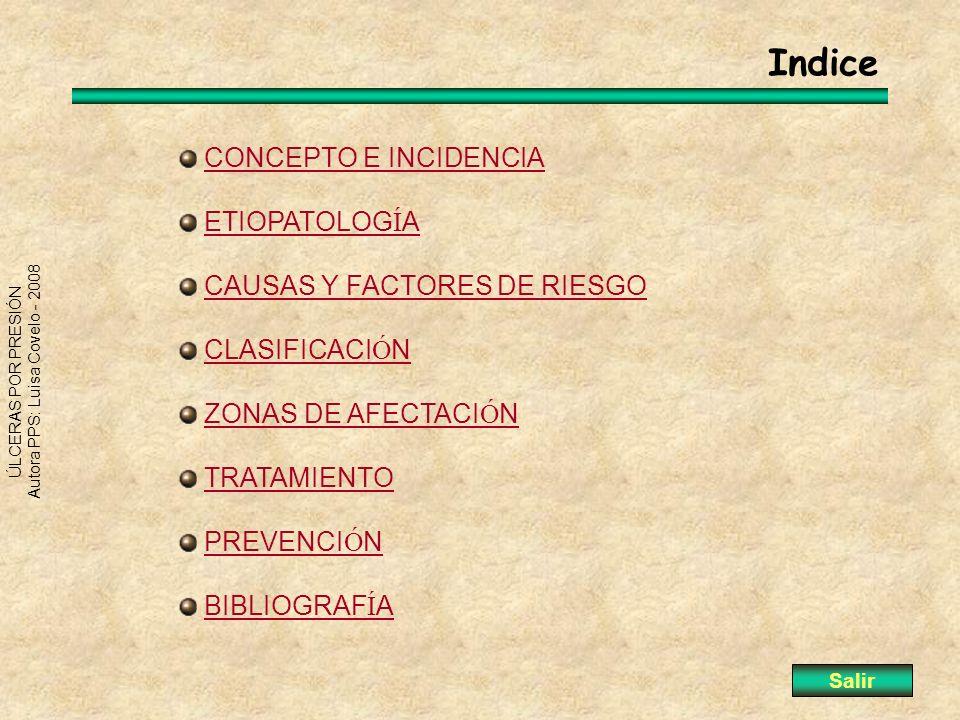 Indice CONCEPTO E INCIDENCIA ETIOPATOLOGÍA CAUSAS Y FACTORES DE RIESGO
