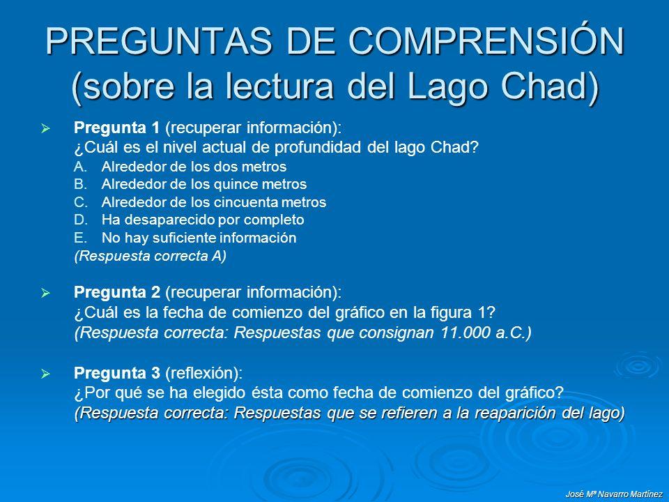 PREGUNTAS DE COMPRENSIÓN (sobre la lectura del Lago Chad)