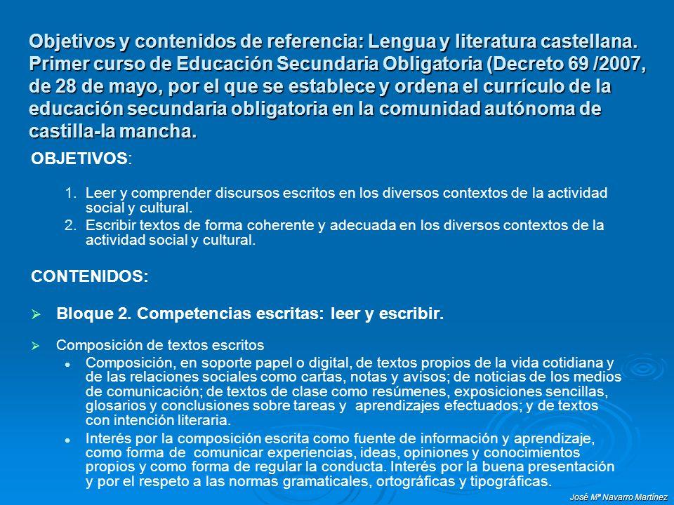 Objetivos y contenidos de referencia: Lengua y literatura castellana