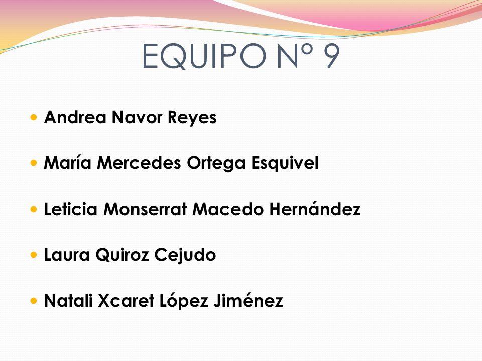 EQUIPO N° 9 Andrea Navor Reyes María Mercedes Ortega Esquivel