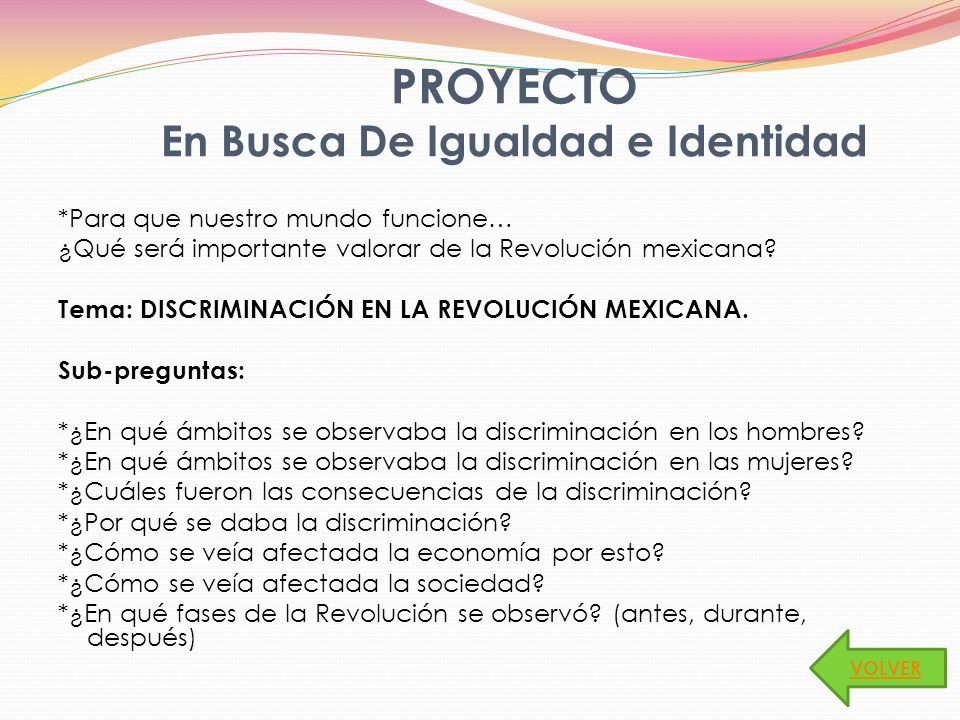 PROYECTO En Busca De Igualdad e Identidad