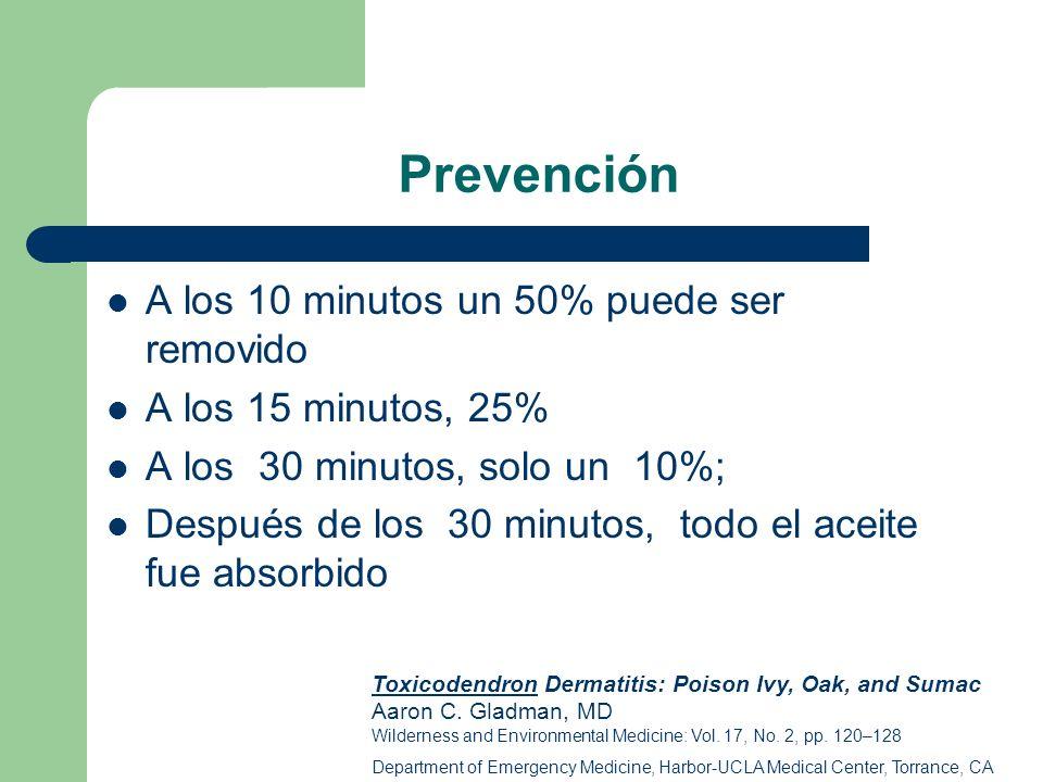 Prevención A los 10 minutos un 50% puede ser removido